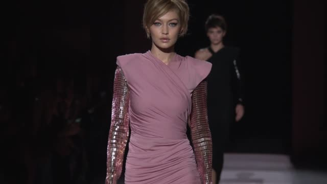 clean tom ford new york fashion week spring 2018 at park avenue armory on september 6 2017 in new york city - gigi hadid stock videos & royalty-free footage