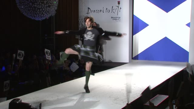 tom gold dances on the runway at the 7th annual 'dressed to kilt' charity fashion show at new york ny - dressed to kilt stock videos & royalty-free footage