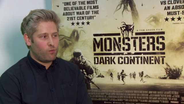 tom green on pressures when making a film, keeping focus to get what you want at 'misfits and monsters: dark continent' on april 27, 2015 in london,... - トム グリーン点の映像素材/bロール