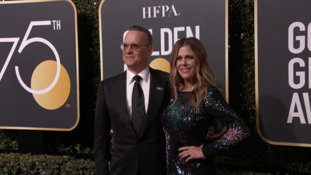 tom hanks and rita wilson walk the red carpet at the 75th annual golden globe awards. the golden globe awards is run by the hollywood foreign press... - rita wilson actress stock videos & royalty-free footage