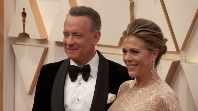 tom hanks and rita wilson walking the red carpet at the 92nd annual academy awards at the dolby theater in los angeles, california. - music or celebrities or fashion or film industry or film premiere or youth culture or novelty item or vacations 個影片檔及 b 捲影像