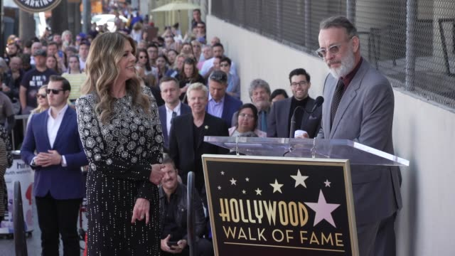 speech tom hanks at rita wilson honored with a star on the hollywood walk of fame on march 29 2019 in hollywood california - ウォークオブフェーム点の映像素材/bロール