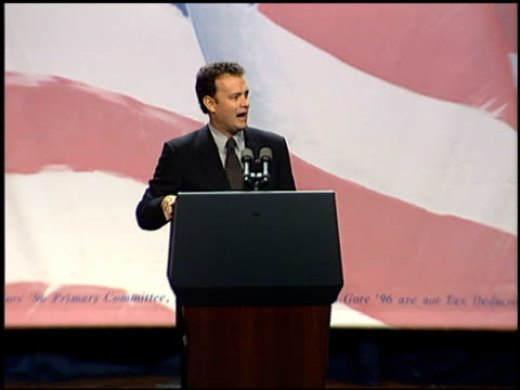 Tom Hanks at the Clinton Gore Event at the Century Plaza Hotel in Century City California on September 21 1995