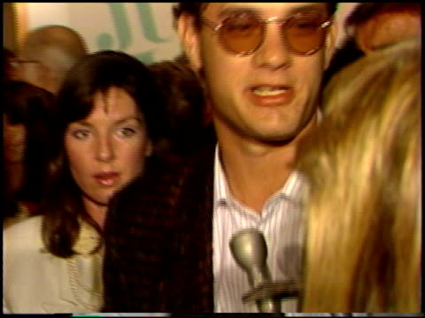 tom hanks at the 'jumping jack flash' premiere at century plaza in century city, california on october 9, 1986. - 1986 stock videos & royalty-free footage