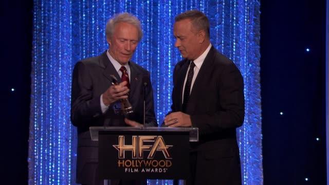 tom hanks, clint eastwood at 20th annual hollywood film awards in los angeles, ca 11/6/16 - クリント・イーストウッド点の映像素材/bロール