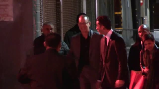 Tom Hanks exchanges greeting with fans upon departing Jimmy Kimmel Studio in Hollywood Celebrity Sightings in Los Angeles CA on 12/10/13