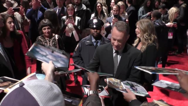 Tom Hanks greets fans at the Tribeca Film Fest Premiere of The Circle in New York in Celebrity Sightings in New York