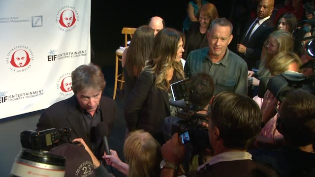 tom hanks martin short and rita wilson being interviewed at 23rd annual simply shakespeare tom hanks martin short and rita wilson being at the broad... - martin short stock videos & royalty-free footage