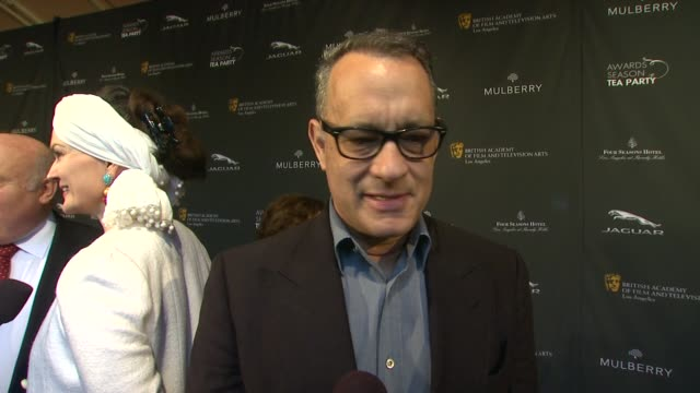 interview tom hanks on being a part of the afternoon what bafta's support means to him the last time he had high tea who he's looking forward to... - season 11 stock videos and b-roll footage