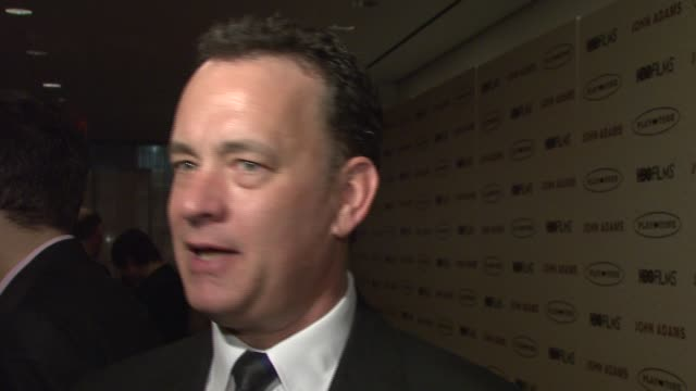 tom hanks on contemporary political speeches at the 'john adams' premiere at the museum of modern art in new york new york on march 3 2008 - politik stock-videos und b-roll-filmmaterial
