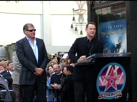 tom hanks on robert zemeckis as hard worker and congratulations at the dedication of robert zemeckis' star on the hollywood walk of fame at hollywood... - robert zemeckis stock videos and b-roll footage