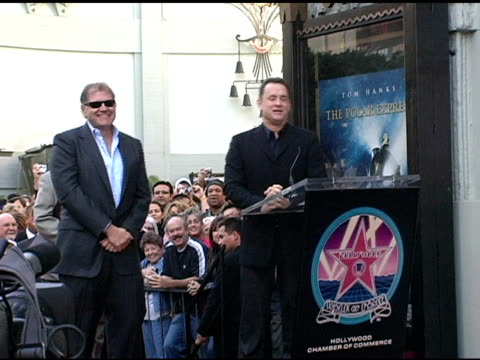 tom hanks on robert zemeckis as visionary and hard worker at the dedication of robert zemeckis' star on the hollywood walk of fame at hollywood... - robert zemeckis stock videos and b-roll footage
