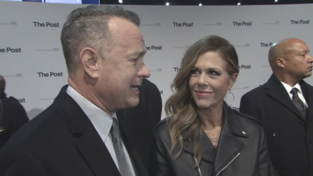 INTERVIEW Tom Hanks on working with Steven Spielberg the importance of a free press working with Meryl Streep at 'The Post' European Premiere on...