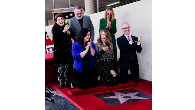 Tom Hanks Rita Wilson and Julia Roberts attend Rita Wilson's Star Ceremony on the Hollywood Walk Of Fame on March 29 2019 in Hollywood California