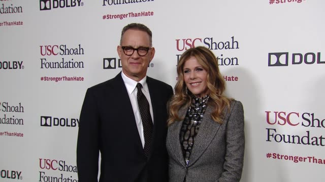 tom hanks rita wilson at kate capshaw steven spielberg and usc shoah foundation honor rita wilson tom hanks at ambassadors for humanity gala with... - martin short stock videos & royalty-free footage