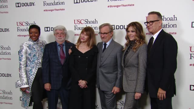 tom hanks rita wilson steven spielberg kate capshaw george lucas mellody hobson at kate capshaw steven spielberg and usc shoah foundation honor rita... - martin short stock videos & royalty-free footage