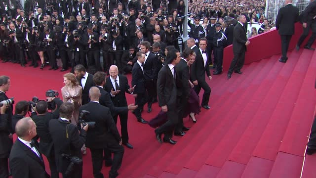 Tom Hardy Jason Clarke Mia Wasikowska Dane Dehaan Nick Cave John Hillcoat Jessica Chastain and Shia LaBeouf at Lawless Premiere 65th Cannes Film...