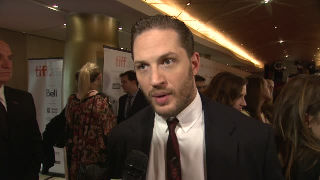 interview tom hardy on the challenges of his character what he learned playing opposite of james gandolfini and this being his first time at tiff the... - toronto international film festival stock videos and b-roll footage