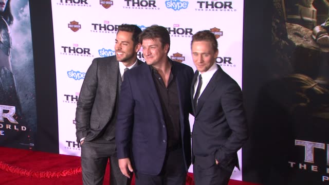 Tom Hiddleston Nathan Fillion Zachary Levi at 'Thor The Dark World' Los Angeles Premiere in Hollywood CA on