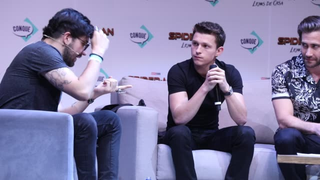 Tom Holland and Jake Gyllenhaal attend Conque 2019 to present the new film SpiderMan Far From Home at Centro de Congresos on May 4 2019 in Queretaro...