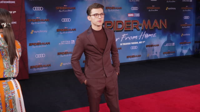 tom holland at the world premiere of spiderman far from home on june 26 2019 in hollywood california - red carpet event stock videos & royalty-free footage