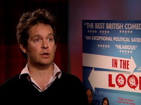 tom hollander on how realistic the movie is and playing the straight guy at the in the loop interviews at london - in the loop 2009 film stock videos and b-roll footage