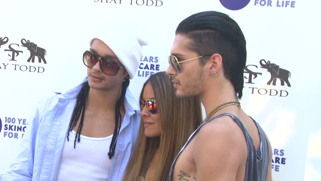 tom kaulitz of tokio hotel shay todd bill kaulitz of tokio hotel at the khloe kardashian odom reveals results of the 2011 nivea goodbye cellulite... - cellulite stock videos & royalty-free footage