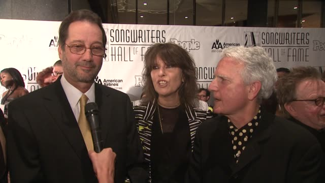 tom kelly, chrissie hynde and billy steinberg on what they plan to do at this event, they share how they collaborated, what their favorite songs are,... - chrissie hynde stock videos & royalty-free footage