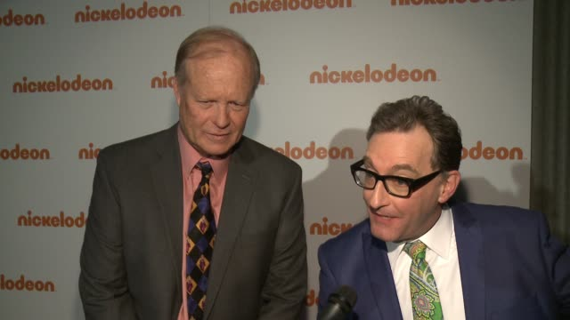 stockvideo's en b-roll-footage met interview tom kenny bill fagerbakke at nickelodeon's stateoftheart complex grand opening and ribbon cutting ceremony on january 11 2017 in burbank... - nickelodeon
