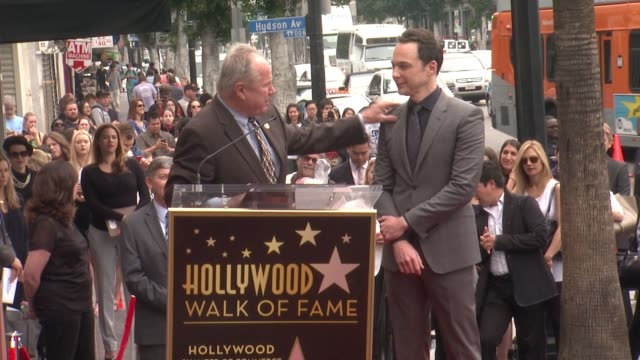 speech tom labonge at jim parsons honored with star on the hollywood walk of fame in holywood ca on - jim parsons stock videos and b-roll footage