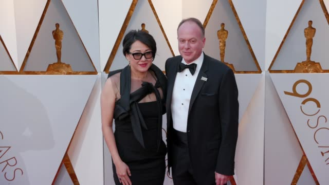 tom mcgrath and ramsey naito at the 90th academy awards - arrivals at dolby theatre on march 04, 2018 in hollywood, california. - the dolby theatre stock videos & royalty-free footage