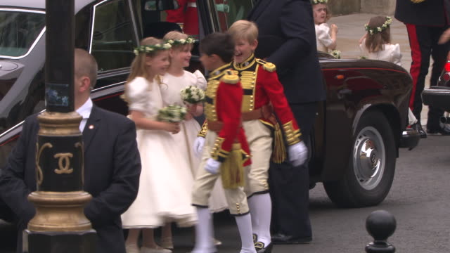 tom pettifer master william lowtherpinkerton lady louise windsor and margarita armstrongjones arrive at westminster abbey at the royal wedding... - lady louise windsor stock videos and b-roll footage