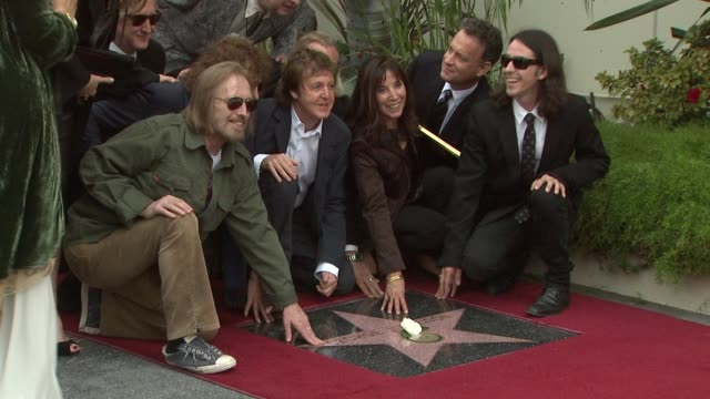 tom petty sir paul mccartney olivia harrison tom hanks and dhani harrison at the george harrison receives star posthumously on the hollywood walk of... - george harrison stock videos & royalty-free footage