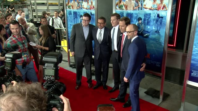 tom rice steve carell nat faxon jim rash and kevin walsh at the way way back new york premiere on june 26 2013 in amc loews lincoln square new york... - amc loews stock videos and b-roll footage