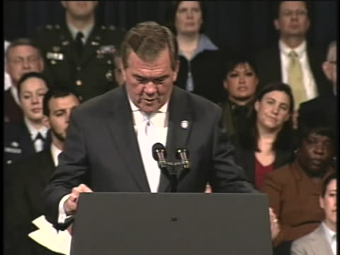 tom ridge first secretary of the department of homeland security speaks at the department's fifth anniversary - department of homeland security stock videos & royalty-free footage