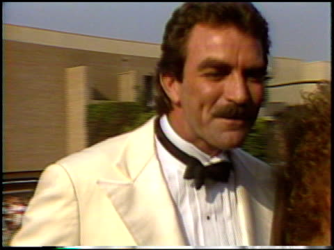tom selleck at the 1987 emmy awards with stuart pankin at the pasadena civic auditorium in pasadena california on september 20 1987 - pasadena civic auditorium stock videos & royalty-free footage
