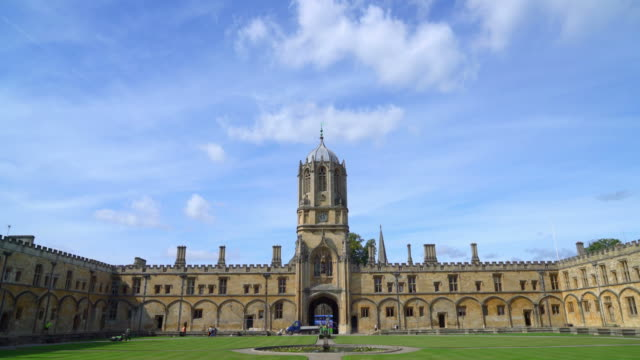 tom tower of christ church at oxford , uk - oxford university stock videos & royalty-free footage
