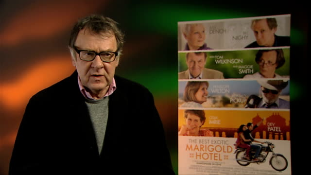 tom wilkinson on his impressions of india at the best exotic marigold hotel interviews at soho hotel on february 28, 2012 in london, england. - トム ウィルキンソン点の映像素材/bロール