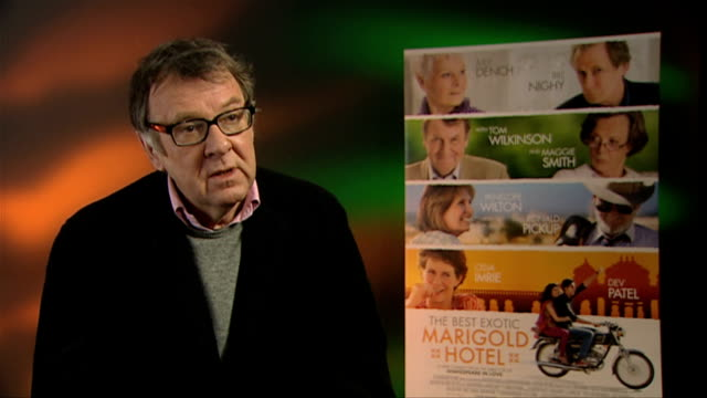 tom wilkinson on how india was portrayed in the film at the best exotic marigold hotel interviews at soho hotel on february 28, 2012 in london,... - トム ウィルキンソン点の映像素材/bロール