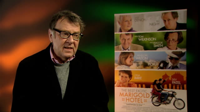 tom wilkinson on the character dynamics at the best exotic marigold hotel interviews at soho hotel on february 28 2012 in london england - dynamics stock videos and b-roll footage