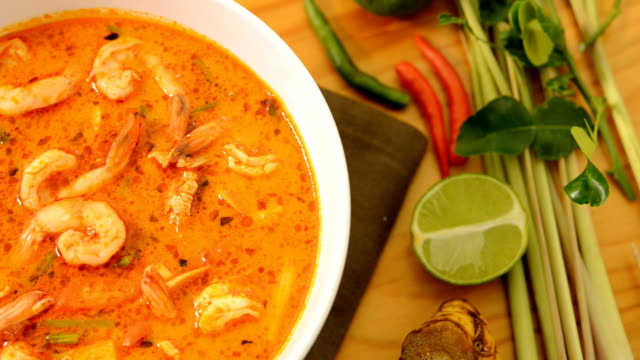 tom yum kung thaifood,or sour prawn soup, - curry powder stock videos and b-roll footage