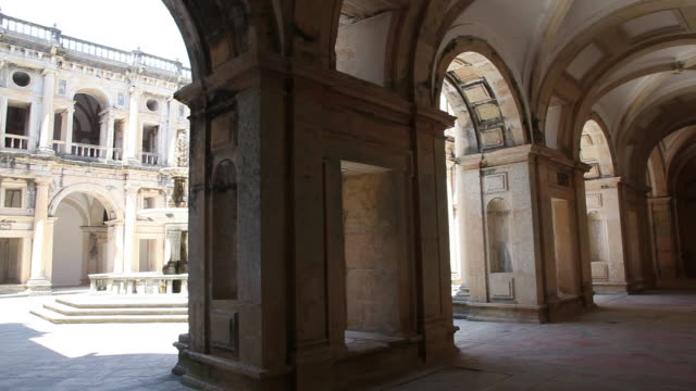tomar, convent of the order of christ (convento de cristo), grand staircase - pedestrian walkway stock videos & royalty-free footage