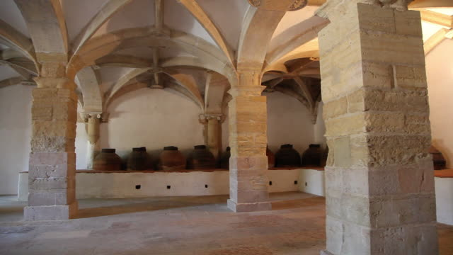 tomar, convent of the order of christ (convento de cristo), olive oil cellar - circa 12th century stock videos & royalty-free footage