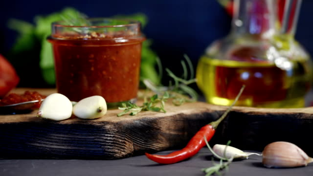 tomato and chili salsa - vinegar stock videos & royalty-free footage