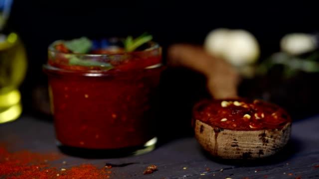 tomato and chili salsa - jar stock videos & royalty-free footage