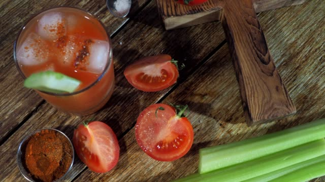 tomato juice - table top view stock videos & royalty-free footage
