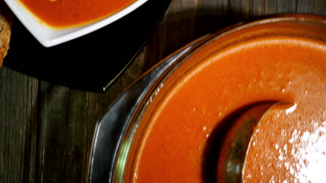 tomato soup - crane shot stock videos & royalty-free footage