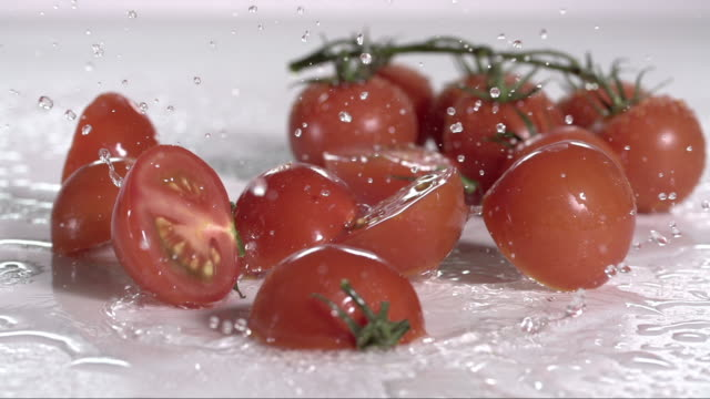 vídeos de stock e filmes b-roll de tomatoes falling and creating splashing droplets v4 - ramo parte de uma planta