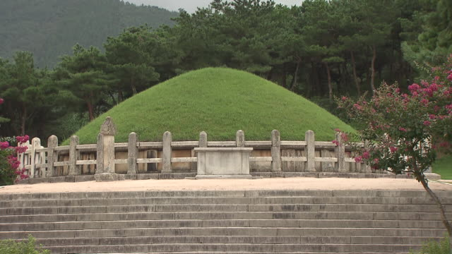 tomb of general kim yusin (the last ruler of the geumgwan gaya state in 7th-century) - north gyeongsang province stock videos and b-roll footage