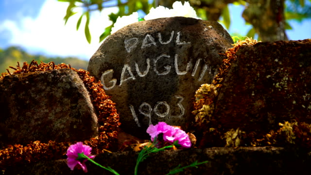tomb of paul gauguin famous artist atuona marquesas - tahitian culture stock videos & royalty-free footage